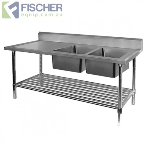 Stainless Steel Right Double Sink Bench 1700mm