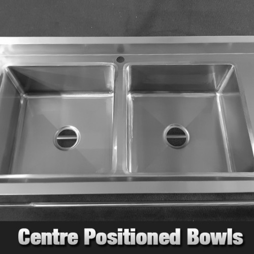 Stainless Steel Center Double Sink Bench 1500mm