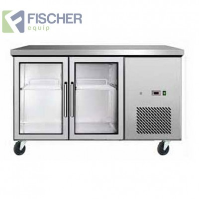 2 Glass Door Bench Fridge Euro - EBC02-GL