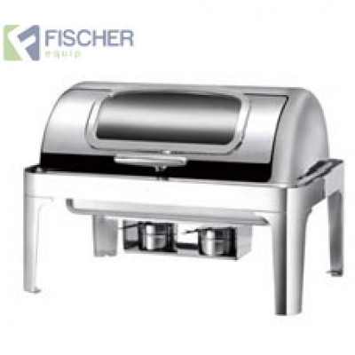 Fischer Luxury Stainless Steel Bain Marie Roll-Top Chafer Window Including Heating Element