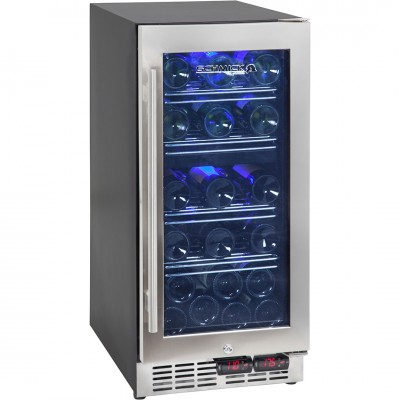 Under Bench Front Venting Dual Zone Wine Refrigerator With Seamless Stainless Framed Glass Door