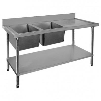 Stainless Steel Left Inlet Double Sink Bench 2400mm