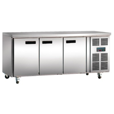 Polar 3 Door Counter Fridge 417L Stainless Steel