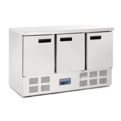 Polar 3 Door Counter Fridge 363L Stainless Steel