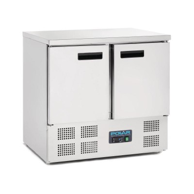 Polar 2 Door Counter Fridge 240L Stainless Steel